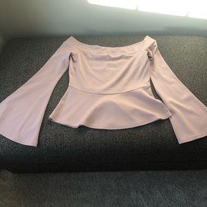 Bcbg dusty pink off shoulder peplum top